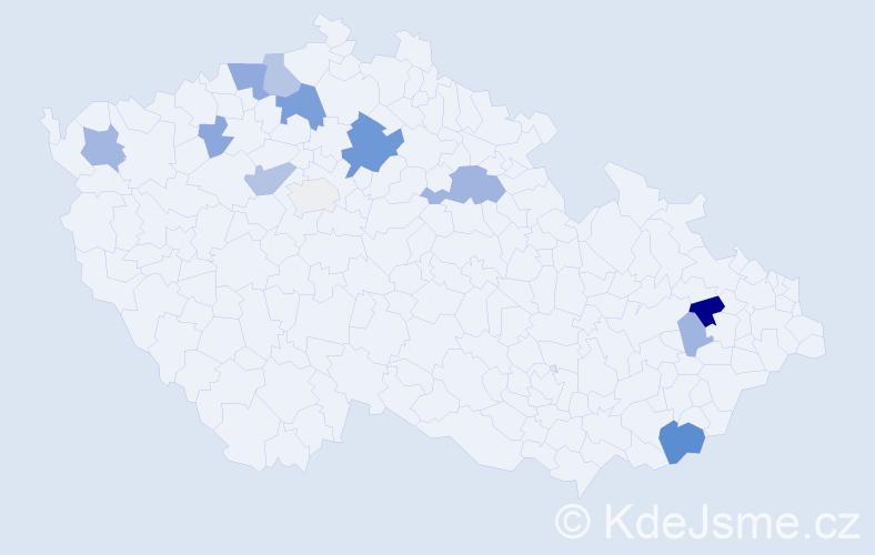 Příjmení: 'Abertová', počet výskytů 30 v celé ČR