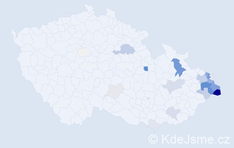 Příjmení: 'Čečotková', počet výskytů 90 v celé ČR