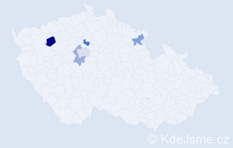 Příjmení: 'Gančíková', počet výskytů 6 v celé ČR