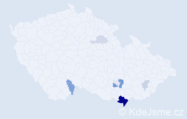 Příjmení: 'Giričová', počet výskytů 16 v celé ČR