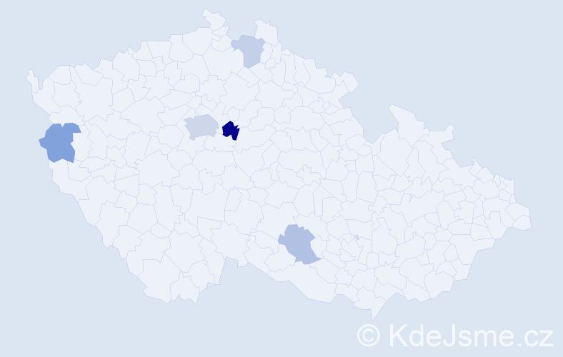 Příjmení: 'Dadaj', počet výskytů 10 v celé ČR
