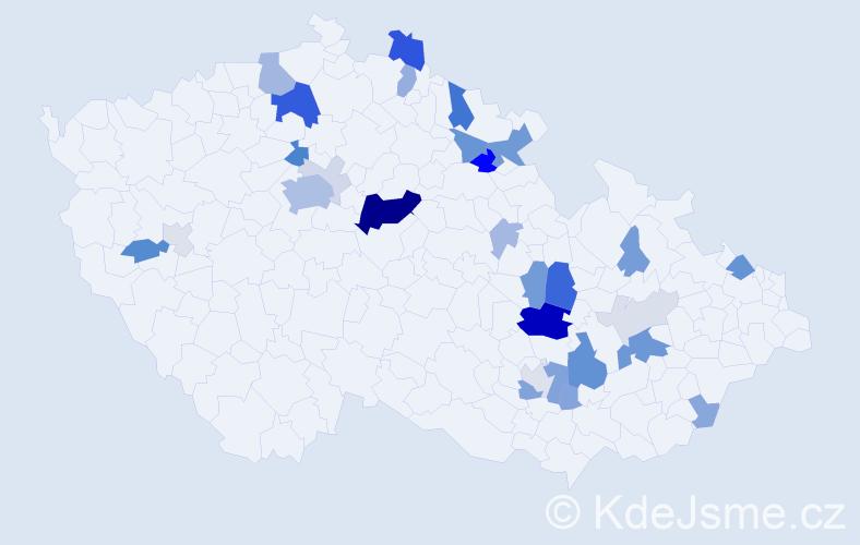 Příjmení: 'Křička', počet výskytů 102 v celé ČR