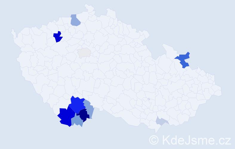 Příjmení: 'Iška', počet výskytů 38 v celé ČR