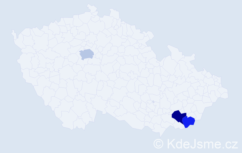 Příjmení: 'Bereň', počet výskytů 5 v celé ČR