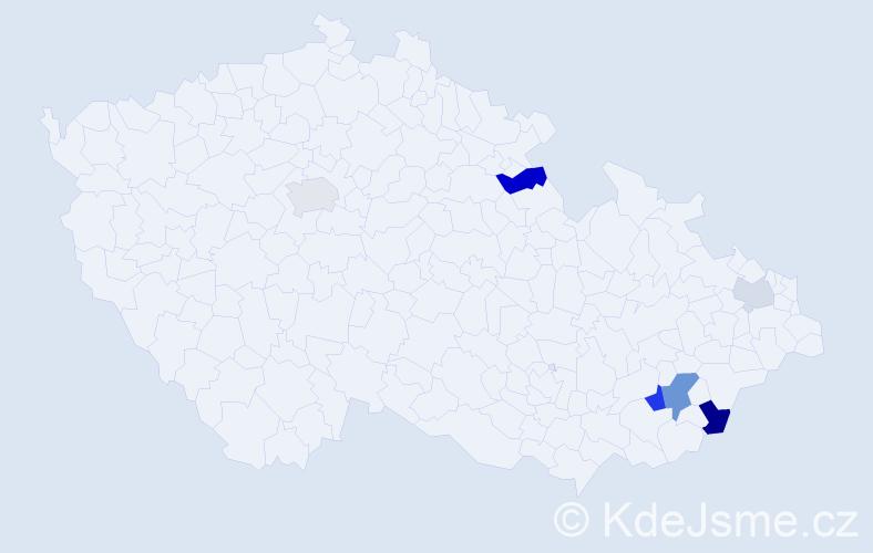 Příjmení: 'Jurů', počet výskytů 21 v celé ČR