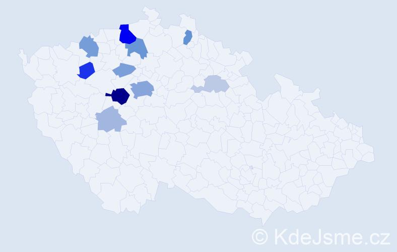 Příjmení: 'Klenerová', počet výskytů 36 v celé ČR