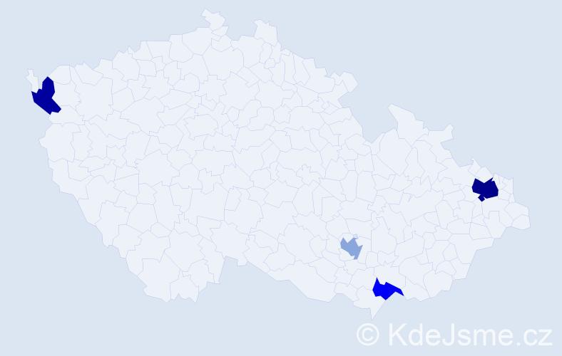 Příjmení: 'Dancziková', počet výskytů 7 v celé ČR