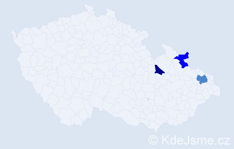 Příjmení: 'Hunčík', počet výskytů 10 v celé ČR