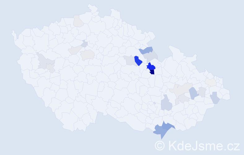 Příjmení: 'Hűblová', počet výskytů 66 v celé ČR