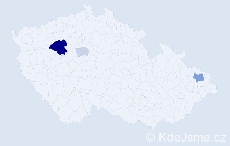 Příjmení: 'Legartová', počet výskytů 3 v celé ČR