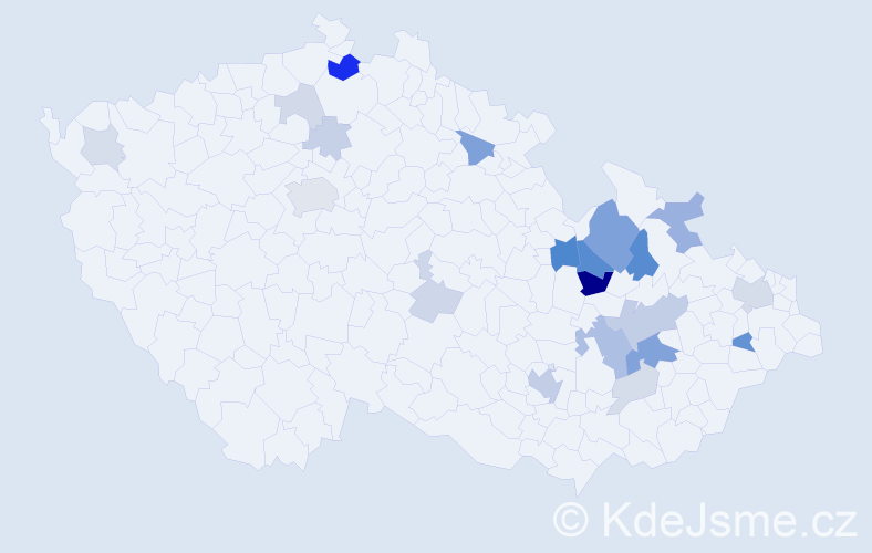 Příjmení: 'Hamal', počet výskytů 61 v celé ČR