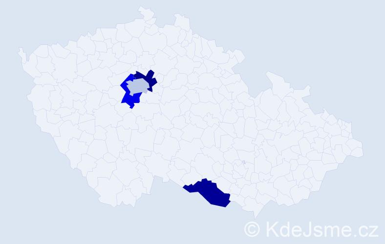 Příjmení: 'Fruck', počet výskytů 4 v celé ČR