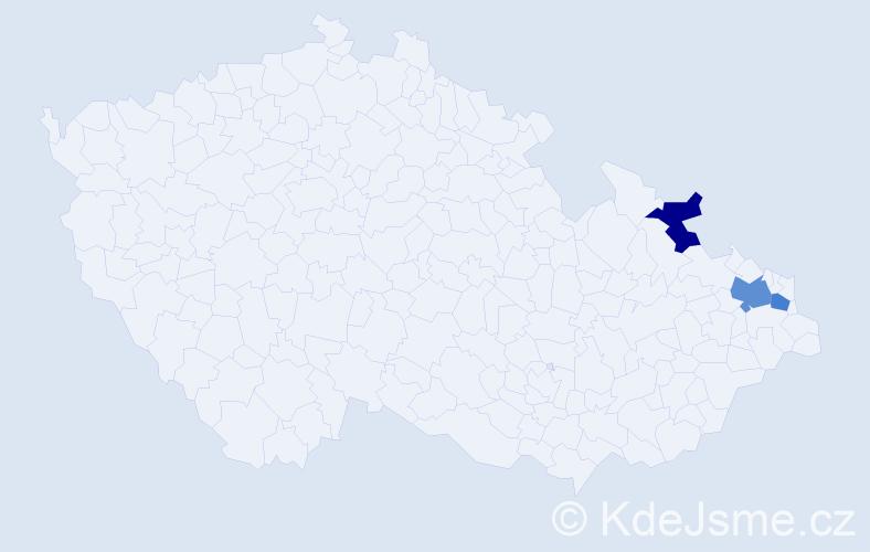 Příjmení: 'Kéval', počet výskytů 4 v celé ČR