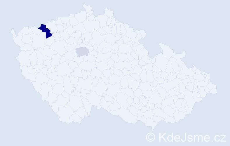Příjmení: 'Linterová', počet výskytů 2 v celé ČR