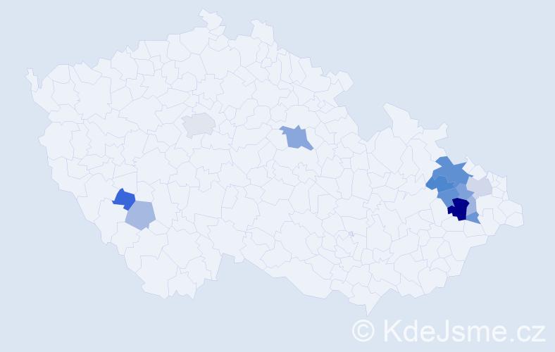 Příjmení: 'Cinko', počet výskytů 27 v celé ČR