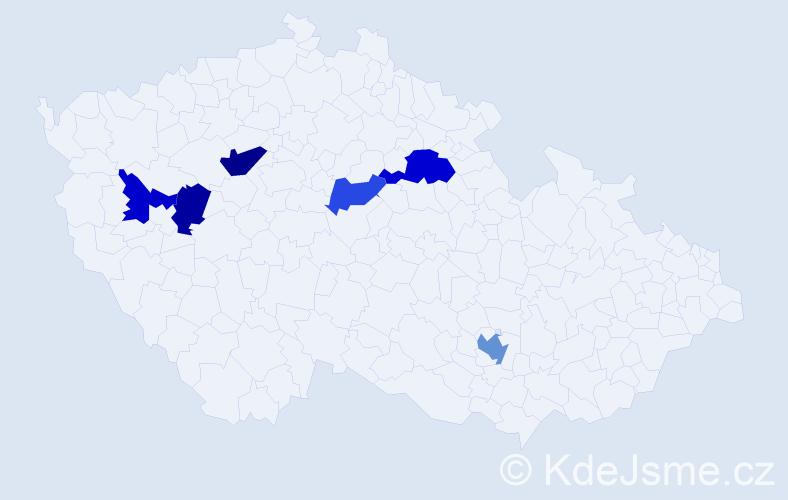 Příjmení: 'Jajčíková', počet výskytů 9 v celé ČR