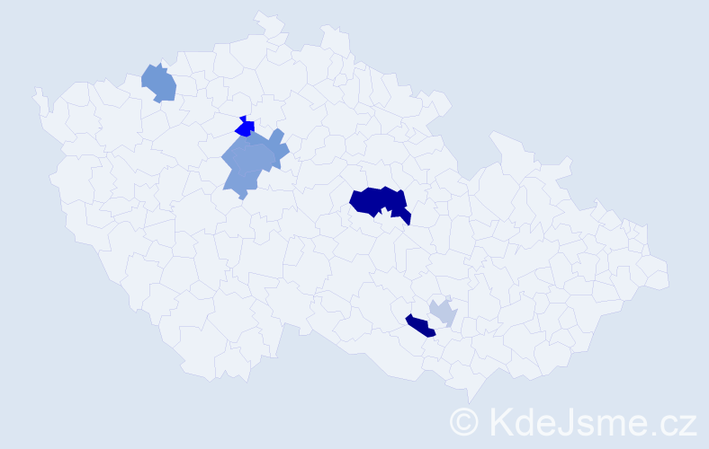 Příjmení: 'Bernardyová', počet výskytů 16 v celé ČR