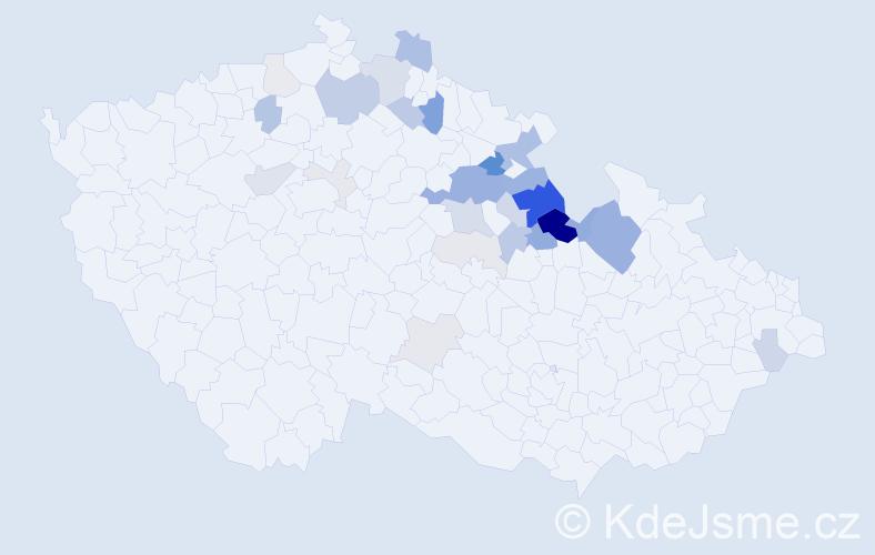 Příjmení: 'Hovadová', počet výskytů 93 v celé ČR