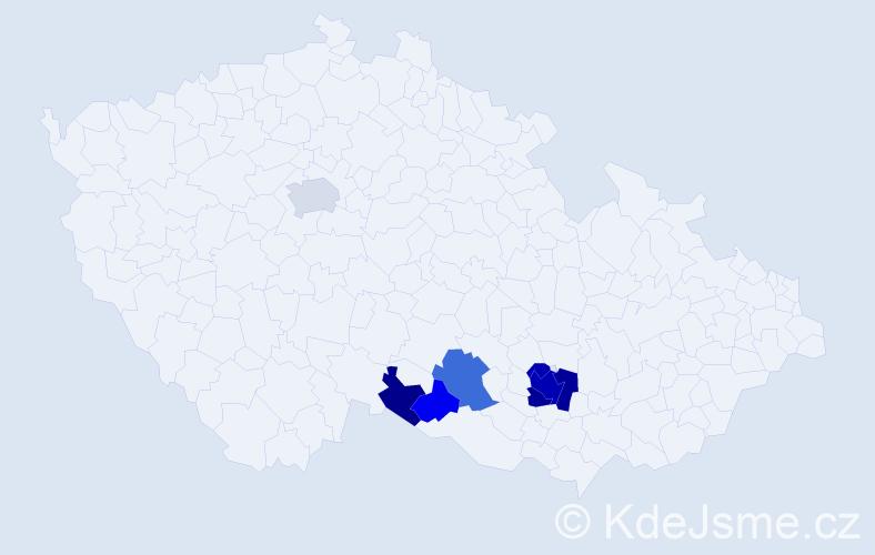 Příjmení: 'Filkuková', počet výskytů 21 v celé ČR
