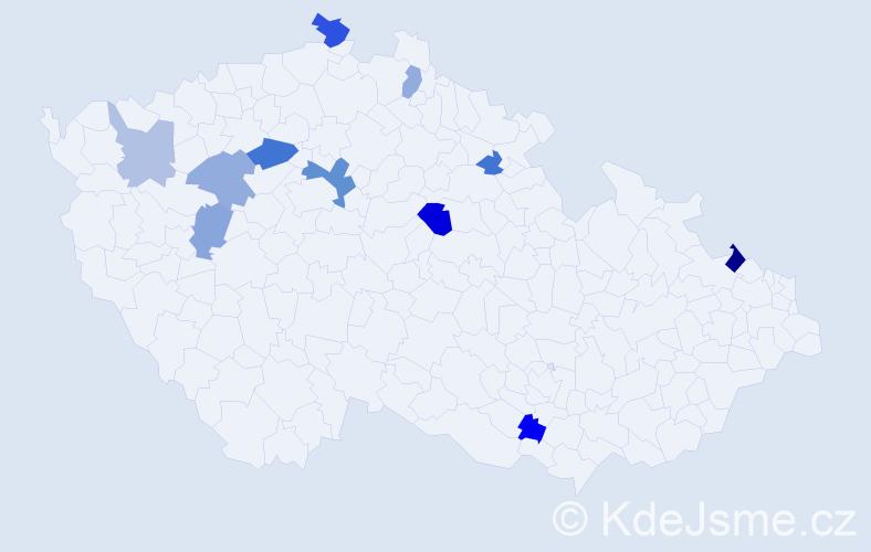 Příjmení: 'Domonkos', počet výskytů 17 v celé ČR