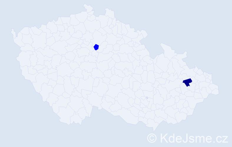Příjmení: 'Bedruň', počet výskytů 2 v celé ČR