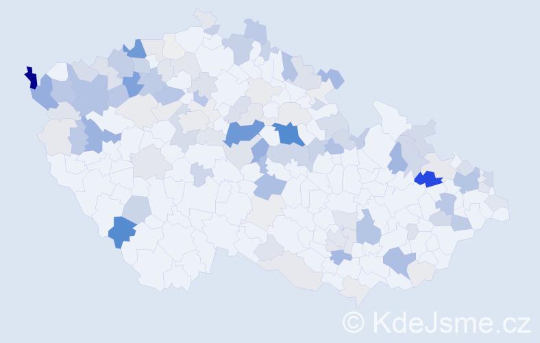 Příjmení: 'Gašpar', počet výskytů 437 v celé ČR