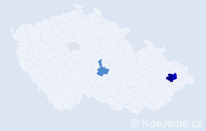 Příjmení: 'Cachnín', počet výskytů 11 v celé ČR