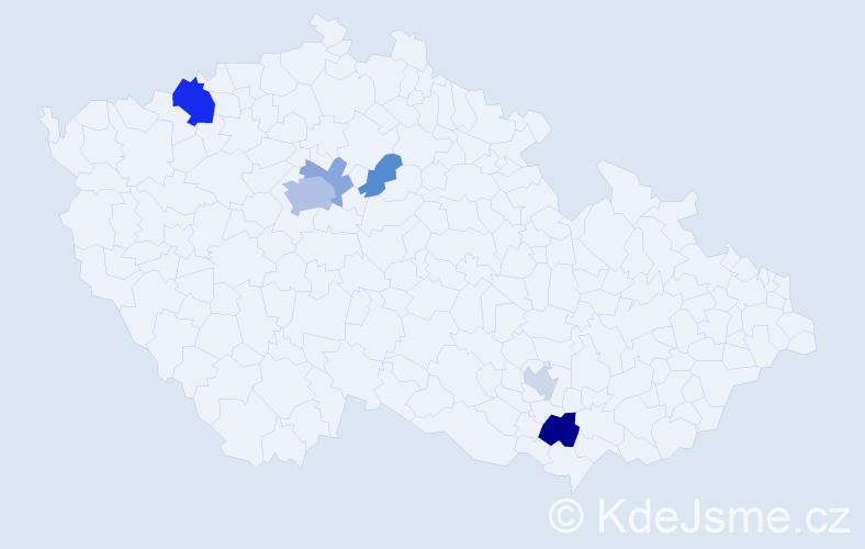 Příjmení: 'Jirgal', počet výskytů 13 v celé ČR