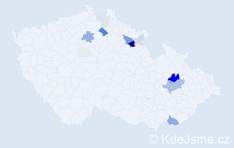 Příjmení: 'Kryst', počet výskytů 26 v celé ČR