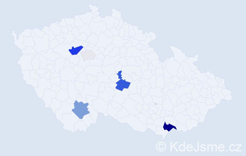 Příjmení: 'Madarásová', počet výskytů 13 v celé ČR