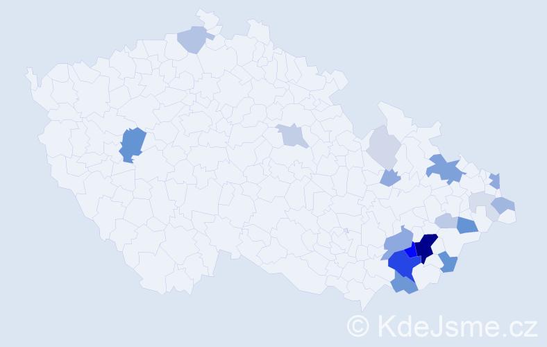Příjmení: 'Kaláč', počet výskytů 68 v celé ČR