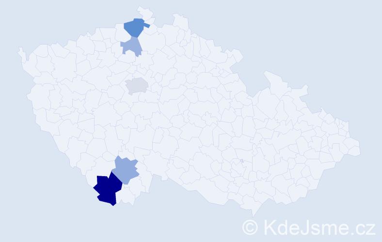 Příjmení: 'Gahut', počet výskytů 13 v celé ČR