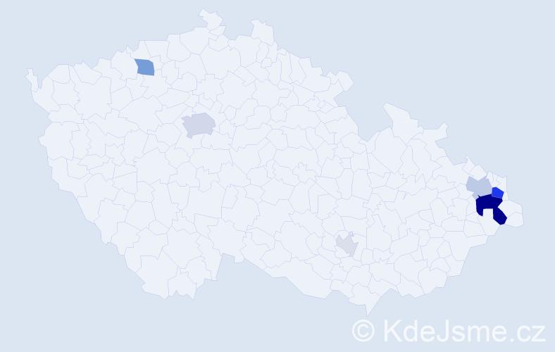 Příjmení: 'Gara', počet výskytů 22 v celé ČR