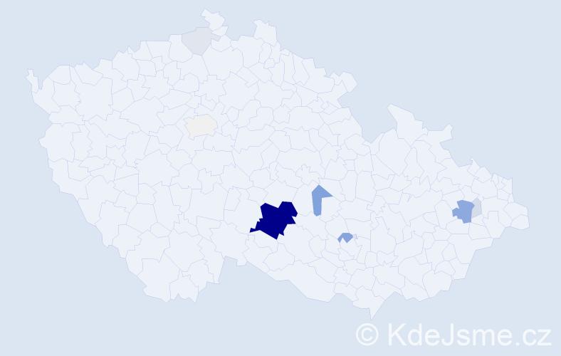 Příjmení: 'Brnický', počet výskytů 44 v celé ČR