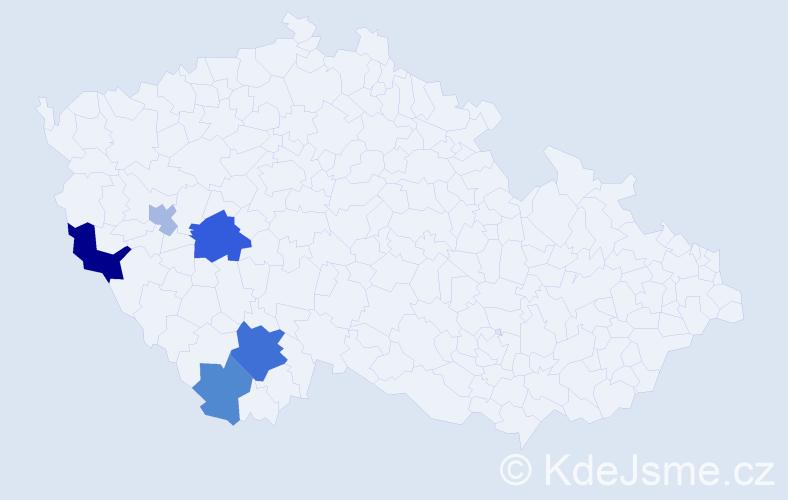 Příjmení: 'Freylach', počet výskytů 9 v celé ČR