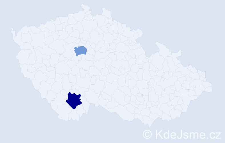 Příjmení: 'Hejdelová', počet výskytů 3 v celé ČR