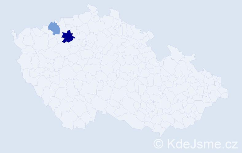Příjmení: 'Daďuk', počet výskytů 6 v celé ČR