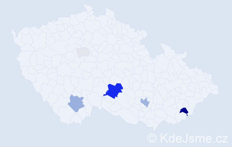 Příjmení: 'Činčárová', počet výskytů 8 v celé ČR