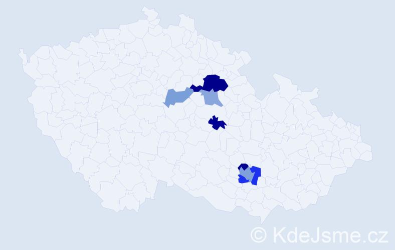 Příjmení: 'Klofera', počet výskytů 14 v celé ČR