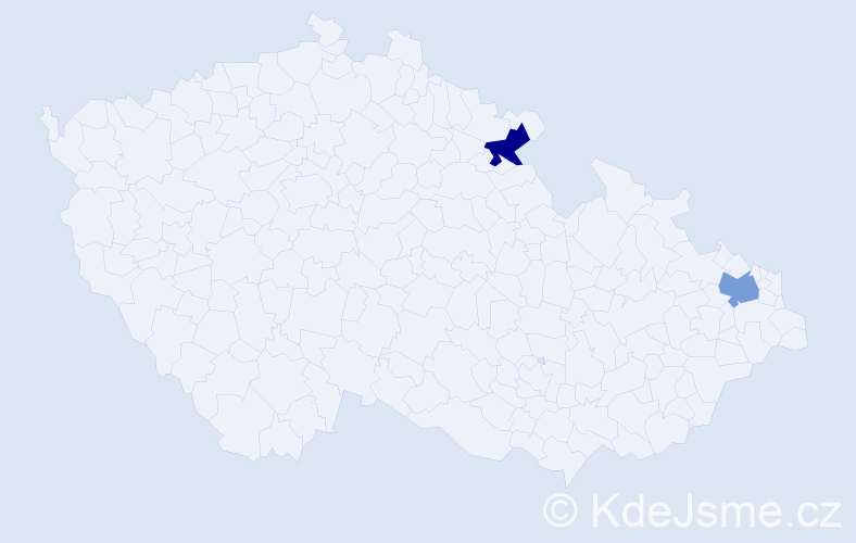 """Příjmení: '""""Kis Pisti""""', počet výskytů 2 v celé ČR"""
