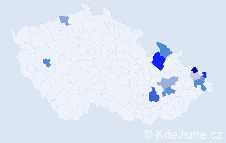 Příjmení: 'Konkol', počet výskytů 41 v celé ČR