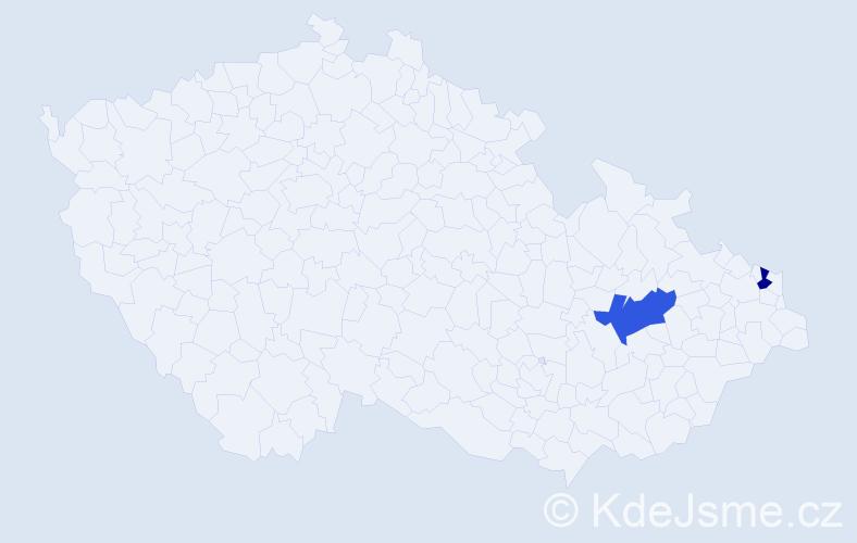 Příjmení: 'Haichlová', počet výskytů 5 v celé ČR