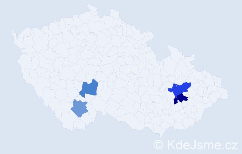 Příjmení: 'Hovád', počet výskytů 6 v celé ČR