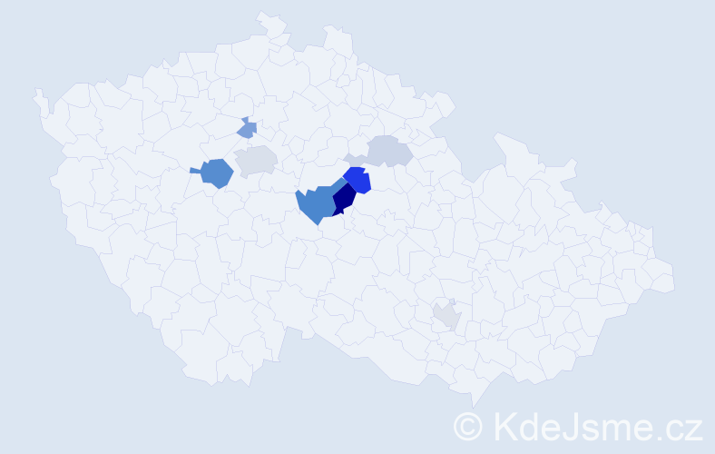 Příjmení: 'Čochnář', počet výskytů 18 v celé ČR