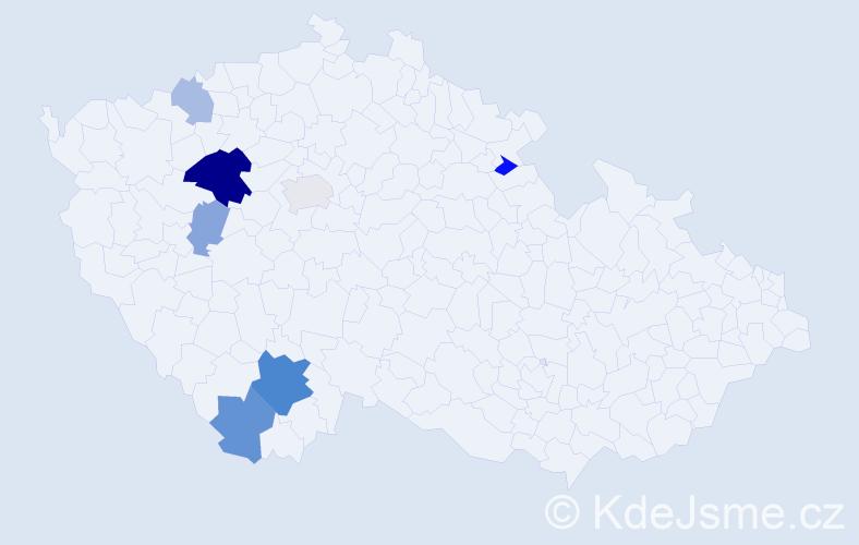 Příjmení: 'Ambrůžek', počet výskytů 32 v celé ČR