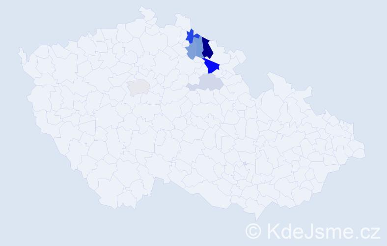 Příjmení: 'Etrichová', počet výskytů 14 v celé ČR