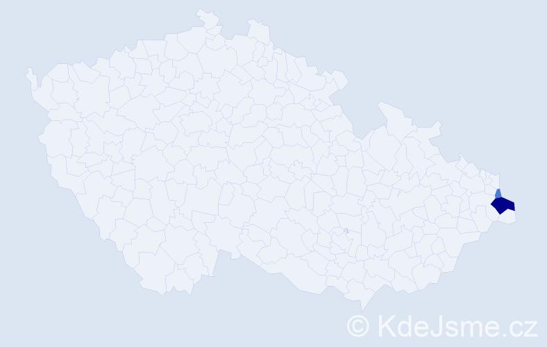 Příjmení: 'Gomolczyková', počet výskytů 5 v celé ČR