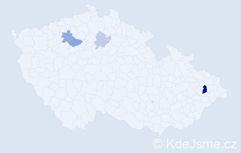 Příjmení: 'Kokles', počet výskytů 8 v celé ČR