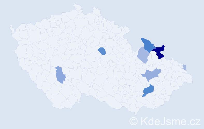 Příjmení: 'Číšecká', počet výskytů 15 v celé ČR