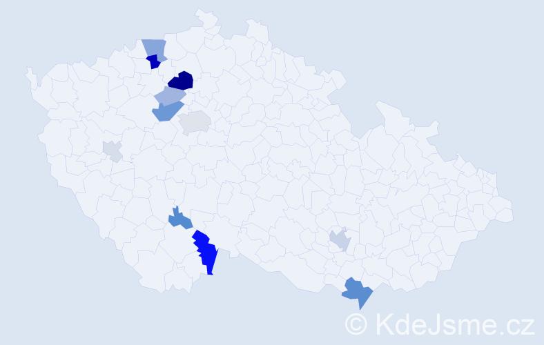 Příjmení: 'Klaboch', počet výskytů 33 v celé ČR